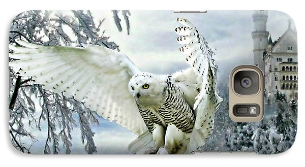Galaxy Case featuring the mixed media Snowy Owl by Morag Bates