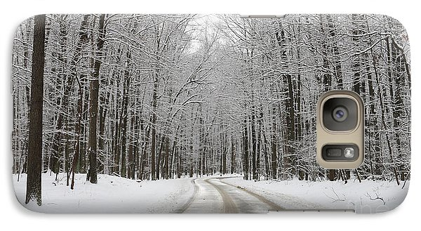 Snowy Road In Oak Openings 7058 Galaxy Case by Jack Schultz