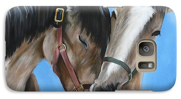 Galaxy Case featuring the painting Snuggling Siblings by Debbie Hart