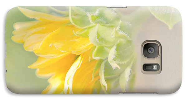 Galaxy Case featuring the photograph Soft Yellow Sunflower Just Starting To Bloom by Patti Deters