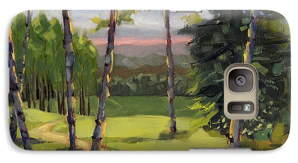 Galaxy Case featuring the painting Sold - Grass Is Always Greener by Nancy  Parsons