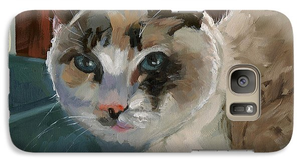 Galaxy Case featuring the painting Sold -nelly Logan by Nancy  Parsons