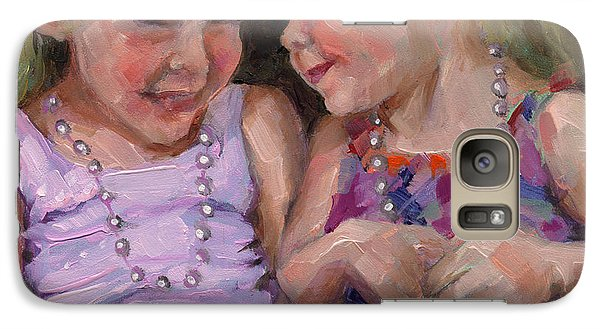 Galaxy Case featuring the painting Sold Silly Sister Secrets by Nancy  Parsons