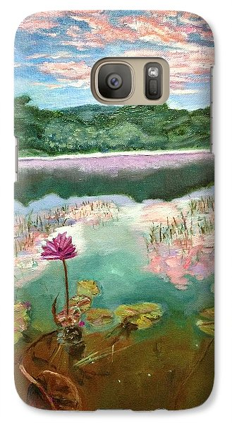 Galaxy Case featuring the painting Solitary Bloom by Belinda Low
