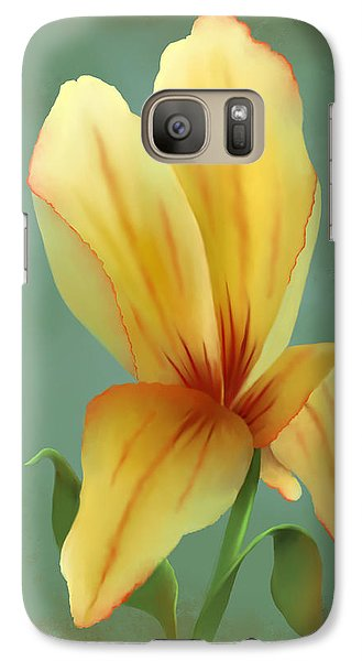 Galaxy Case featuring the painting Solitary Yellow Tulip by Sena Wilson