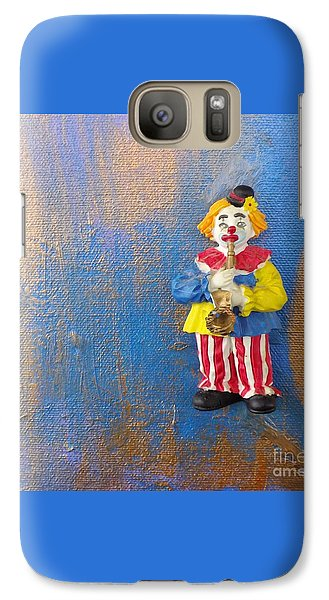 Galaxy Case featuring the mixed media Solo Clown Musician by Margaret Harmon