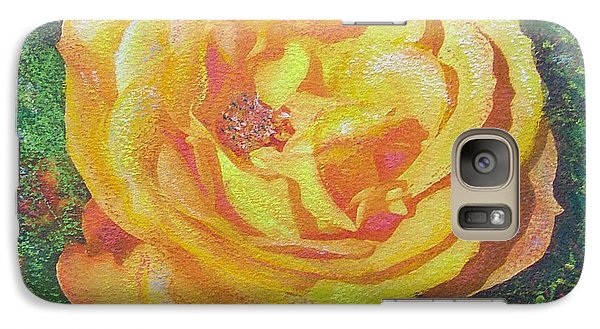Galaxy Case featuring the painting Solo Orange Rose by Richard James Digance