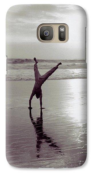 Galaxy Case featuring the photograph Somersalting On Bali Black Sand Beach 2 by Mukta Gupta