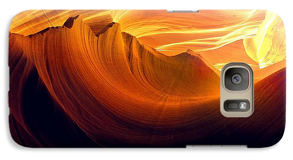 Galaxy Case featuring the photograph Somewhere In America Series - Golden Yellow Light In Antelope Canyon by Lilia D
