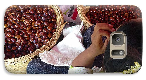 Galaxy Case featuring the photograph Sorting Water Chestnuts Zay Cho Street Market 29th Street Mandalay Burma by Ralph A  Ledergerber-Photography