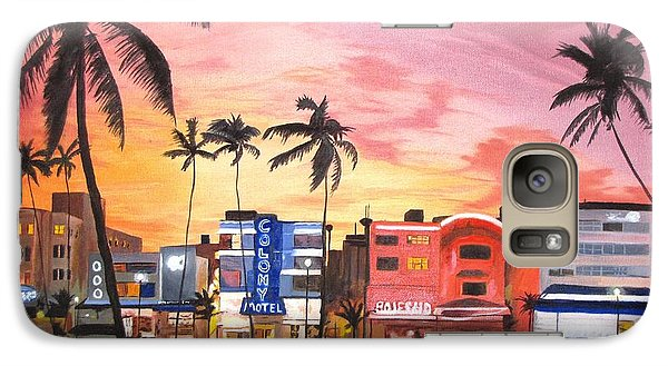 Galaxy Case featuring the painting South Beach Ocean Drive by Kevin F Heuman