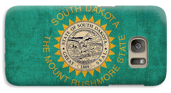 South Dakota State Flag Art On Worn Canvas Galaxy S7 Case by Design Turnpike