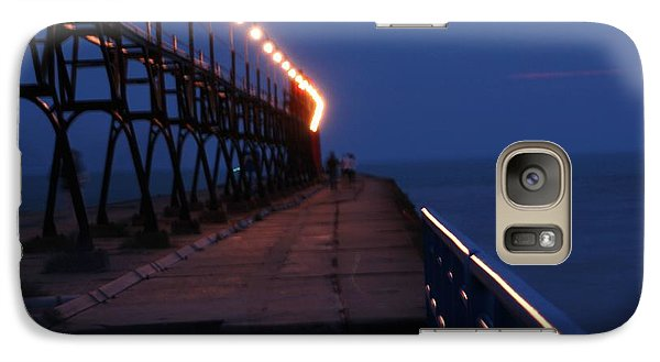 Galaxy Case featuring the photograph South Haven Pier At Twilight by Bill Woodstock