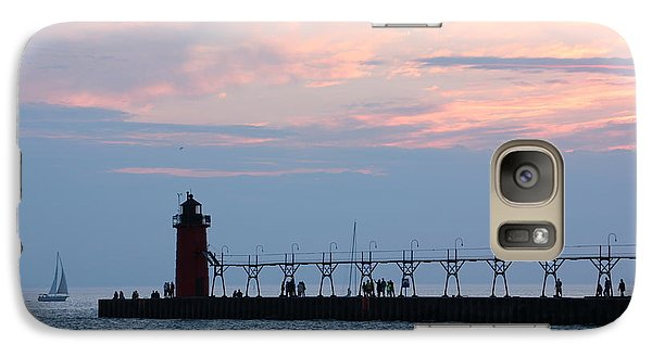 Galaxy Case featuring the photograph South Haven Sunset With Sailboat by Bill Woodstock