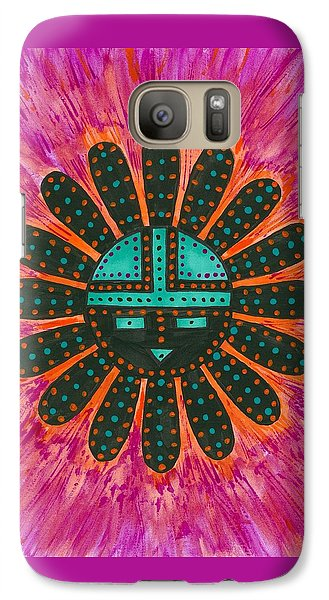 Galaxy Case featuring the painting Southwest Sunburst Sunface by Susie Weber