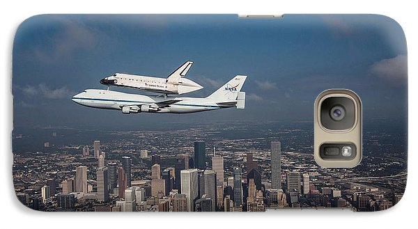 Space Ships Galaxy S7 Case - Space Shuttle Endeavour Over Houston Texas by Movie Poster Prints