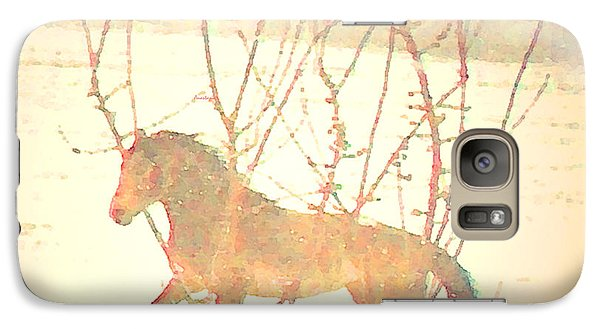 Galaxy Case featuring the photograph Spanish Mustang Running Free In April Snow  by Anastasia Savage Ealy