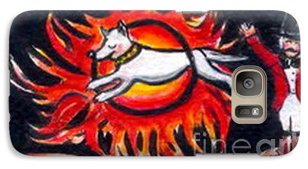 Galaxy Case featuring the painting Sparky The Dog Jumps Through The Fiery Hoop by Joyce Gebauer