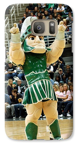 Michigan State Galaxy S7 Case - Sparty At Basketball Game  by John McGraw