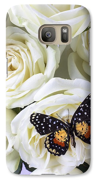 Rose Galaxy S7 Case - Speckled Butterfly On White Rose by Garry Gay