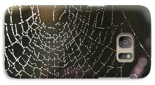 Galaxy Case featuring the photograph Spiderweb Green by Artist and Photographer Laura Wrede