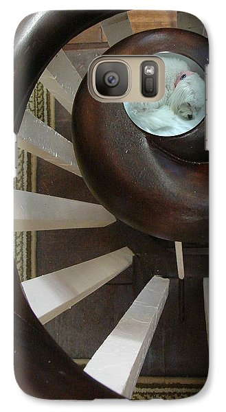 Galaxy Case featuring the photograph Spiral Railing And Puppy by Mary Beth Landis