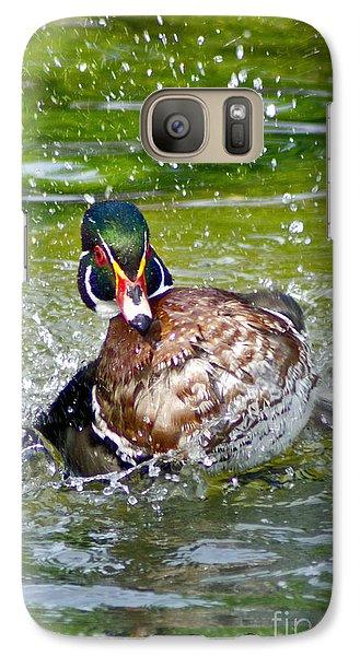 Galaxy Case featuring the photograph Splashdown - Wood Duck by Adam Olsen