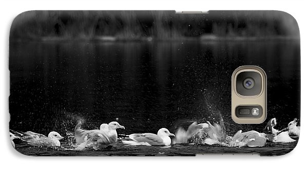 Galaxy Case featuring the photograph Splashing Seagulls by Yulia Kazansky