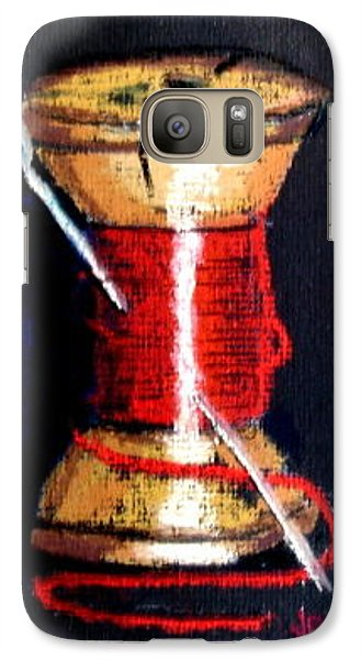 Galaxy Case featuring the drawing Spool 2 Red by Joseph Hawkins