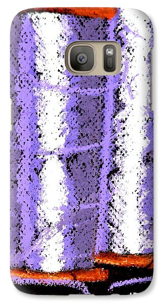 Galaxy Case featuring the drawing Spools Of Thread Purple 1 by Joseph Hawkins