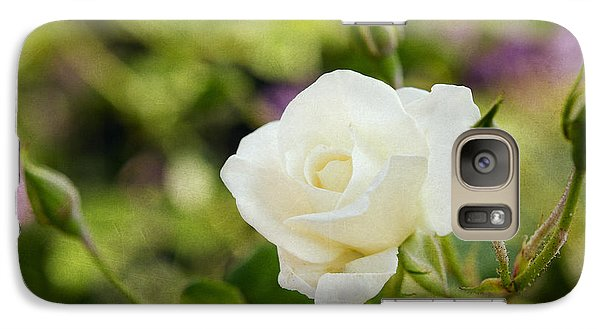 Galaxy Case featuring the photograph Spotlights On The White Rose by MaryJane Armstrong