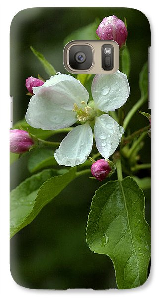 Galaxy Case featuring the photograph Spring Apple Blossom Encircled By Pink Buds by Gene Walls