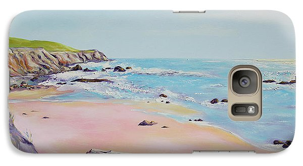 Galaxy Case featuring the painting Spring Hills And Seashore At Bowling Ball Beach by Asha Carolyn Young