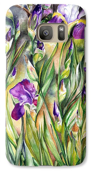 Galaxy Case featuring the painting Spring Iris by Nadine Dennis