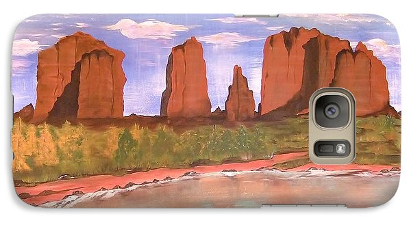 Galaxy Case featuring the painting Spring Mist At Cathedral Rock Oak Creek Sedona by Cindy Micklos