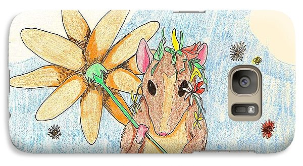Galaxy Case featuring the drawing Spring Mouse by Wendy Coulson