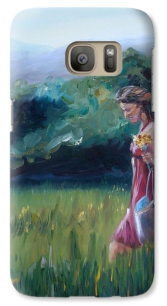 Galaxy Case featuring the painting Spring Stroll by Donna Tuten