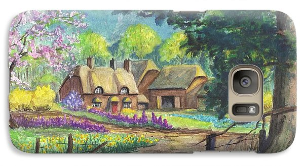 Galaxy Case featuring the painting Springtime Cottage by Carol Wisniewski