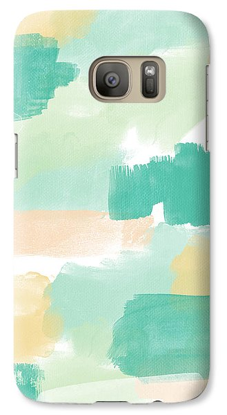 Peach Galaxy S7 Case - Spumoni- Abstract Painting by Linda Woods