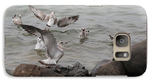 Galaxy Case featuring the photograph Squabbling Gulls by Patricia Overmoyer
