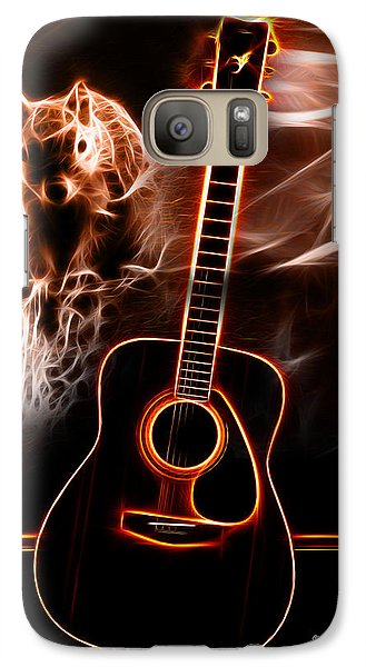 Galaxy Case featuring the digital art Squirrelly Music Red by James Ahn