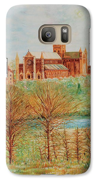 Galaxy Case featuring the painting St Albans Abbey - Autumn View by Giovanni Caputo