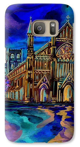 Galaxy Case featuring the digital art St Albans Abbey - Night View by Giovanni Caputo
