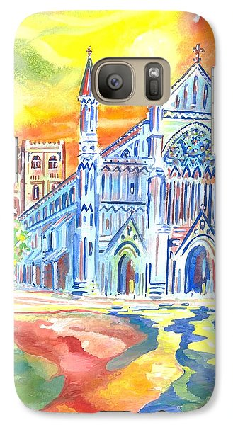 Galaxy Case featuring the painting St Albans Abbey - Rainbow Celebration by Giovanni Caputo