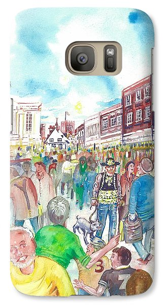 Galaxy Case featuring the painting St Albans - Market People by Giovanni Caputo