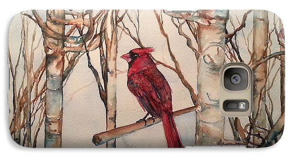 Galaxy Case featuring the painting St Louis Cardinal Redbird by Christy  Freeman