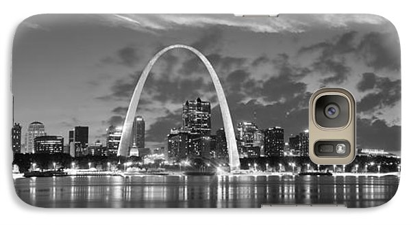Galaxy Case featuring the photograph St. Louis Skyline At Dusk Gateway Arch Black And White Bw Panorama Missouri by Jon Holiday