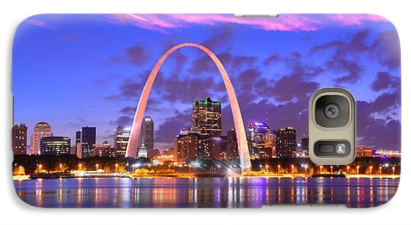Galaxy Case featuring the photograph St. Louis Skyline At Dusk Gateway Arch Color Panorama Missouri by Jon Holiday