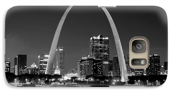 Galaxy Case featuring the photograph St. Louis Skyline At Night Gateway Arch Black And White Bw Panorama Missouri by Jon Holiday