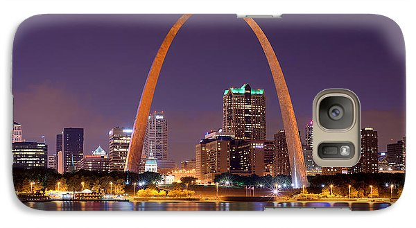 Galaxy Case featuring the photograph St. Louis Skyline At Night Gateway Arch Color Panorama Missouri by Jon Holiday
